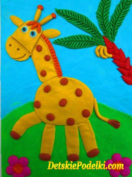 аппликация из пластилина жираф