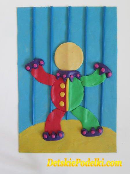 поделка клоун из пластилина