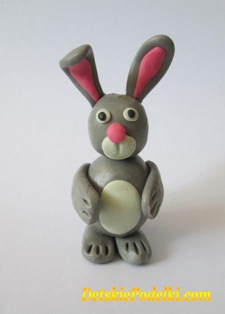 Как сделать из пластилин зайца