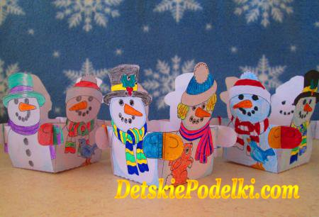 коробочка снеговик